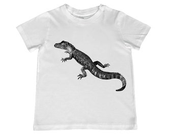 Awesome Vintage Alligator illustration on kids TShirt - t-shirt color choice, personalization available - youth sizes xs, s, m, l, xl