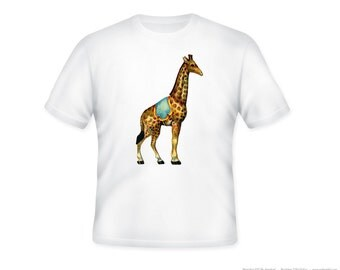 Vintage Circus Giraffe Image Adult T-Shirt, sizes S, M, L, XL, 2XL, 3XL