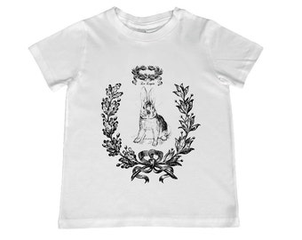 Le Lapin Rabbit Bunny Vintage Collage on Childs TShirt -  personalization available - youth sizes xs, s, m, l, xl