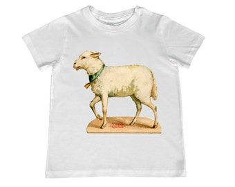 Child Vintage Easter Lamb Sheep Illustration Teee -  personalization available - infant, toddler, youth sizes available