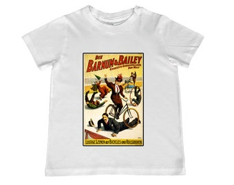 Child Vintage Circus German Poster Barnum & Bailey TShirt -  t-shirt color choice, personalization available - youth sizes xs, s, m, l, xl