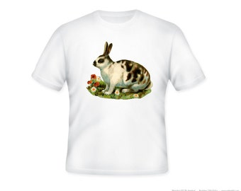 Adorable Spotted Bunny Rabbit Vintage Illustration on Adult T-Shirt, Sizes S-5XL