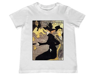 Lautrec's Le Divan Japonais illustration TShirt - color choice, personalization available - youth sizes 2t-4T  xs, s, m, l, xl
