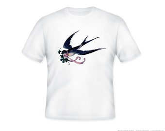 Vintage Swallow Bird with Ribbon Illustration Adult Tshirt  -- other tshirt color and personalization available - adult sizes S-3XL