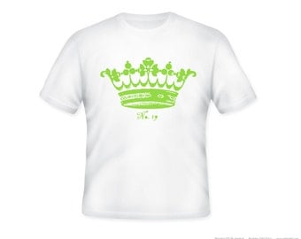 Vintage Royal Crown Tiara Illustration Adult Tshirt  -- personalizaton available and ANY COLOR IMAGE- adult sizes S-3xl