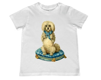 Child Vintage Cute Dog on Pillow Illustration TShirt - personalization available - youth sizes xs, s, m, l, xl