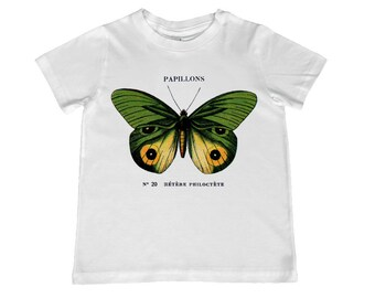French Vintage Papillons Green & Yellow Butterfly illustration TShirt - personalization available - youth sizes xs, s, m, l, xl