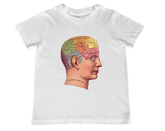 """Vintage Phrenology """"Good Health"""" Head on Youth Tee -- personalization available, sizes toddler and xs-xl"""