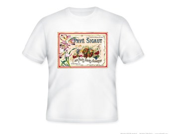 French Vintage Pave Sigaut Fruits Glaces Label on Adult Tshirt  -- personalization available - adult sizes S-3XL