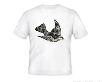 Beautiful Vintage Flying Bird Illustration Adult Tshirt  -- other tshirt color and personalization available - adult sizes S-3XL