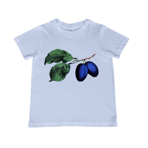 Gorgeous Vintage Plum illustration TShirt - t-shirt color choice, personalization available - youth sizes xs, s, m, l, xl