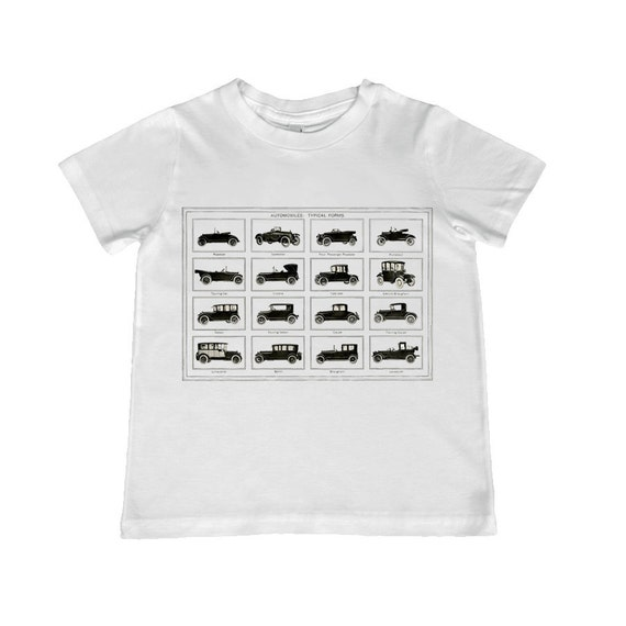 Fun Vintage Auto Collection illustration on kids TShirt - t-shirt color choice, personalization available - youth sizes xs, s, m, l, xl