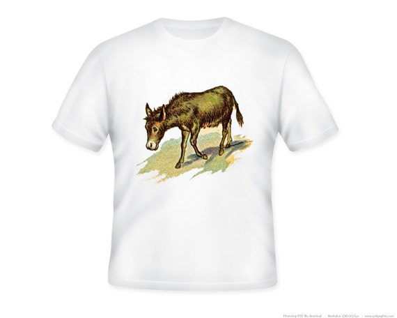 Great Vintage Donkey Illustration on Adult Tshirt -- other tshirt color and personalization available - adult sizes S-3X