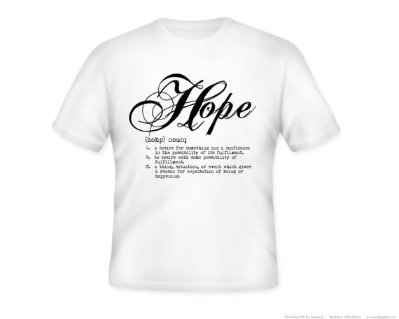 """Definition """"Hope"""" typography  on Adult T Shirt, S-5XL"""