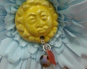 Blue Flower with Yellow Sun Brooch