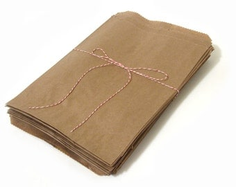 """50 Large Brown Kraft Paper Bags - DIY Merchandise Bags - 7.5"""" x 10.5"""""""