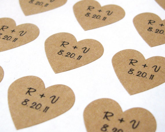 Custom Wedding Heart Stickers - Initials & Date - Set of 216