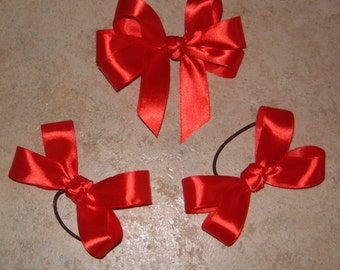 Satin Bow Set -  set consists of One Pair of Tap Shoe Bows plus One Hair Bow