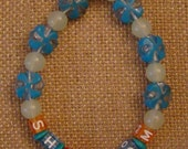 "Custom ""Shalom"" Kandi Bracelet with Happy Star of David Bead"