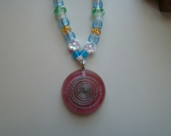 Spiral Charm Kandi Necklace with Flower and Mushroom Beads