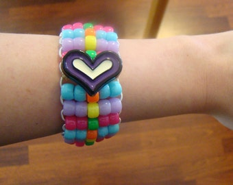 Custom Heart Cuff Bracelet with Rainbow
