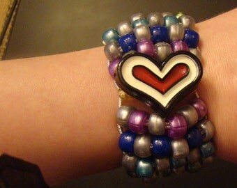 Custom Heart Cuff Bracelet with Surprise Rainbow 2