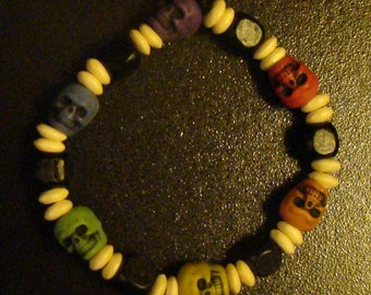 Custom Kandi Bracelet with Skull Beads 2