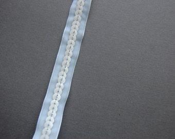 White Velvet Sequin Trim