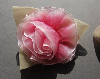 Large Organza Flower - Pin Back
