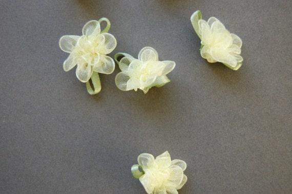 Dozen Yellow Organza Rosebuds