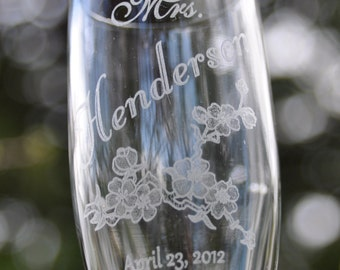 Cherry Blossom Champagne Glasses Personalized with Name and Date