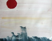 Abstract landscape painting art print 5x7 - oriental red sun water