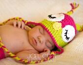 Crochet owl hat, earflap, critter, baby, newborn, photo prop, sleepy owl hat
