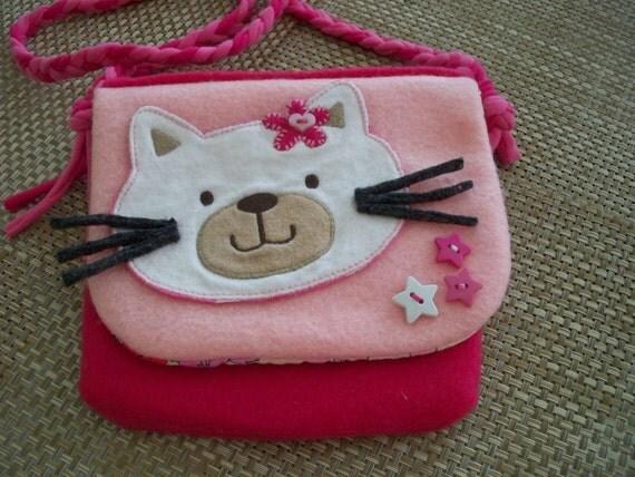 Christmas /SALE / Pink purse Kitty cat / Little girl bag / Felt messenger bag