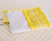 Bright Yellow Coin Purse/ Change Purse with Pom Pom Trim Accent