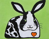 Quirky Bunny Original 5x4 Orange and Green Rabbit Acrylic Painting
