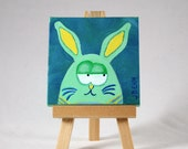 Green, Teal and Yellow Mixed Media Mini Bunny Painting With Easel 3x3 inches Rabbit Art