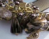 Big Bold Statement Bracelet, Large Brown Beads, Gold Chain, Statement Jewelry