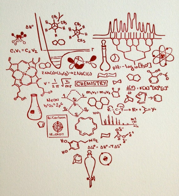 Got Chemistry print -- Letterpress heart RED -- Science geekery