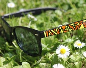 Unisex Black Wayfarer Sunglasses with Orange and Yellow Acrylic Detailing