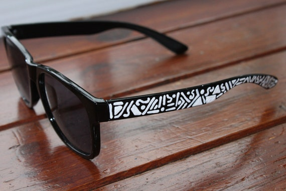 Unisex Black Wayfarer Sunglasses with White Acrylic Detailing