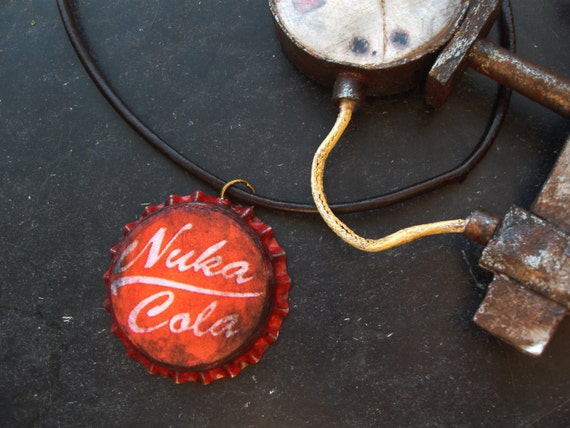 Nuka cola cap necklace with brown leather string