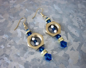 Blue & Brass Lamp Nut Earrings