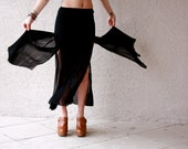 vintage 80s black witchy semi-sheer flowy chiffon maxi skirt