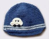 On order, Hand Crochet baby boy Hat, woolen blue yarn, white car, Winter baby hat,