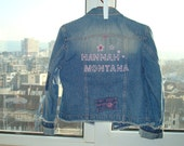 Kids jacket with hand-sewn labels Hannah Montana with sequins and decorated guitar and stars. Size 146 - 164.