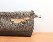Fox needle felted Tweed pencil case