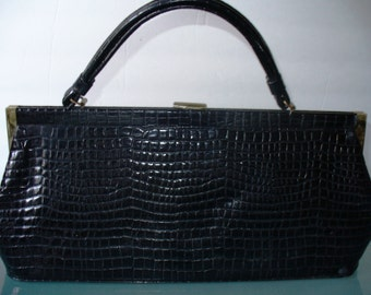 Vintage X Large Faux Alligator Handbag By Markay Bags