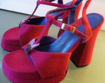 Magenta Felt Platform Shoes By Seven Star size 6.5M