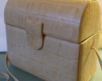 Vintage Alligator Embossed Leather Etra Dome Purse